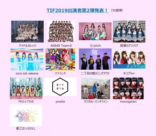 「TIF2019」出演アイドル第2弾!「全国選抜LIVEスペシャルサポーター」を務める「AKB48 Team 8」をはじめ13組がラインナップ